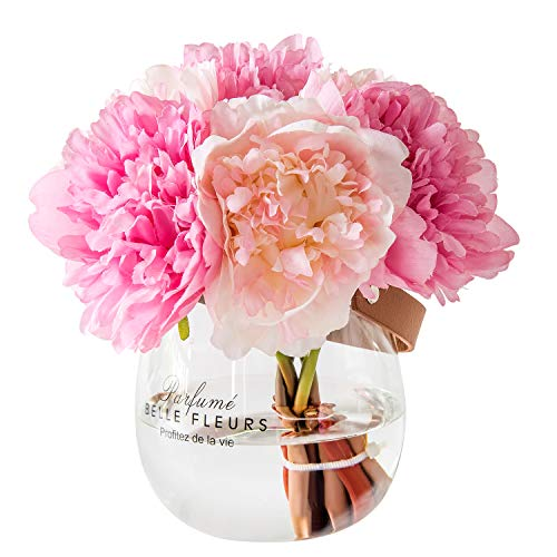 Fresh home ,Artificial Flowers with Vase, Fake Silk Peony Flowers in Glass Vase, for Home Wedding Office Decoration, Mistyrose and Pink, Medium (Wide Vase) (Glass Vase With Artificial Flowers)