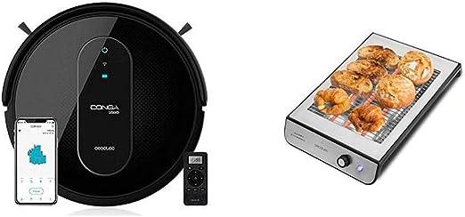 Cecotec Robot Aspirador Conga Serie 1590 Active + Tostador Plano Horizontal Turbo Easy Toast Inox: Amazon.es: Hogar
