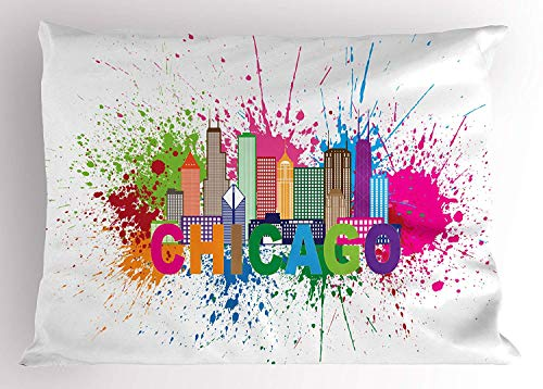 Emiqlandg Chicago Skyline Pillow Sham, Splash of Colorful Paint Background with Text of Chicago and Cityscape, Decorative Standard Queen Size Printed Pillowcase, 30 X 20 inches, Multicolor