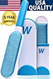WELLTED Pet Hair Remover Brush - Lint Brush - Fur Remover - Fur & Lint Removal - Dog & Cat Hair Remover - Double-Sided Brush with Self-Cleaning Base - for Furniture Clothing Bed Car Seat - Best Gift