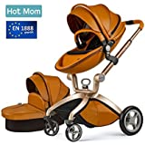 Hot Mom Pushchair 2017, 3 in 1 Baby Stroller Travel System With Bassinet Brown (black)