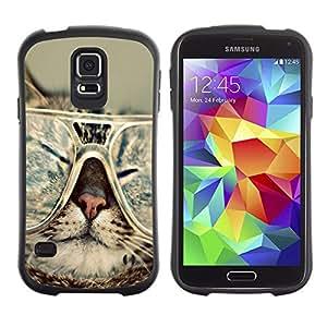 Suave TPU GEL Carcasa Funda Silicona Blando Estuche Caso de protección (para) Samsung Galaxy S5 / CECELL Phone case / / Cat Glasses Slpeeping Funny Portrait Art /