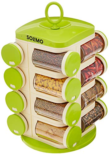 Amazon Brand – Solimo Revolving Plastic Spice Rack set (16 pieces,Silver)