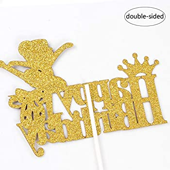 Double Sided Glitter Decor for Girls Princess Birthday Party Ballet Theme Decoration Supplies Cute Ballerina with Crown Birthday Cake Topper