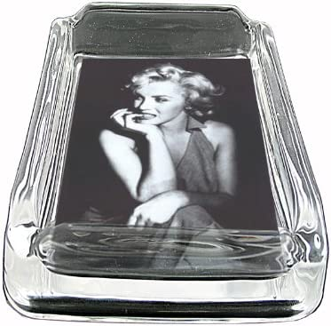 Glass Square Ashtray Marilyn Monroe Classic Image Whiskey D-002