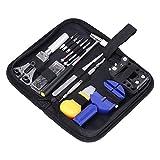 SoLed Professional 13 Pcs Watch Repair Tool Kit + a Hammer+ Black Case