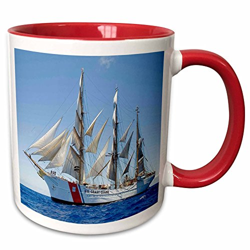 Mug Coast Guard (3dRose Florene - Patriotic - Print of Coast Guard Boat - 15oz Two-Tone Red Mug (mug_205037_10))