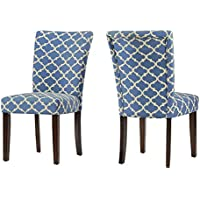 ModHaus Modern Blue Fabric Moroccan Quatrefoil Pattern Parsons Style Dining Chairs | Wood Finish Wooden Legs - Set of 2 Includes ModHaus Living (TM) Pen