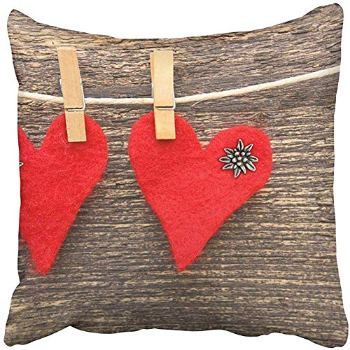 20x20 Inch Throw Pillow Cover Polyester Red Love Two Homemade Hearts Felt On Line Wedding Edelweiss Button Clothespin Country Cushion Decorative Pillowcase Square Two Side Print Home ()