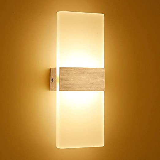 Lámpara de pared LED lámpara de escalera de pared moderna lámpara de espejo dormitorio iluminación interior de cabecera 6W 12W pasillo loft silver-SQUARE_12W golden_Warm blanco(2700-3500K): Amazon.es: Iluminación