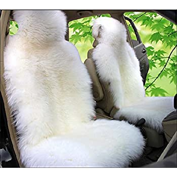 OFLBA Real Genuine Luxury Australian White Car Sheepskin Seat Covers Front Universal Fit WHITE
