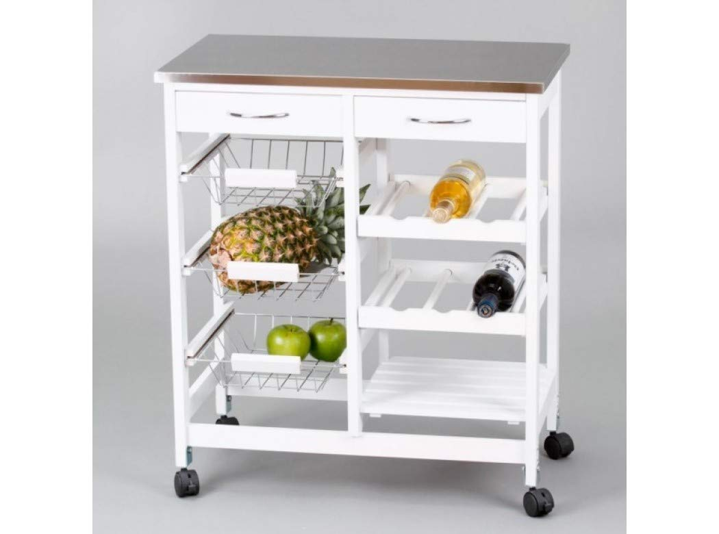 Closet Kitchen Trolley With 3 Stainless Steel Basket Trays, 76 x 67 x 37 cm 7040028011