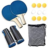 Table Tennis Set Kit Outdoor Indoor Racquet Paddle Bat Balls Retractable Net Accessories Case Cover for Adults Kids…