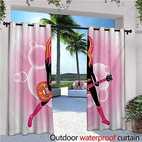 homehot Popstar Party Indoor/Outdoor Single Panel Print Window Curtain Illustration of Woman with Stylized Guitar on Pink Bubble Backdrop Silver Grommet Top Drape W84 x L108 Pink Orange Black