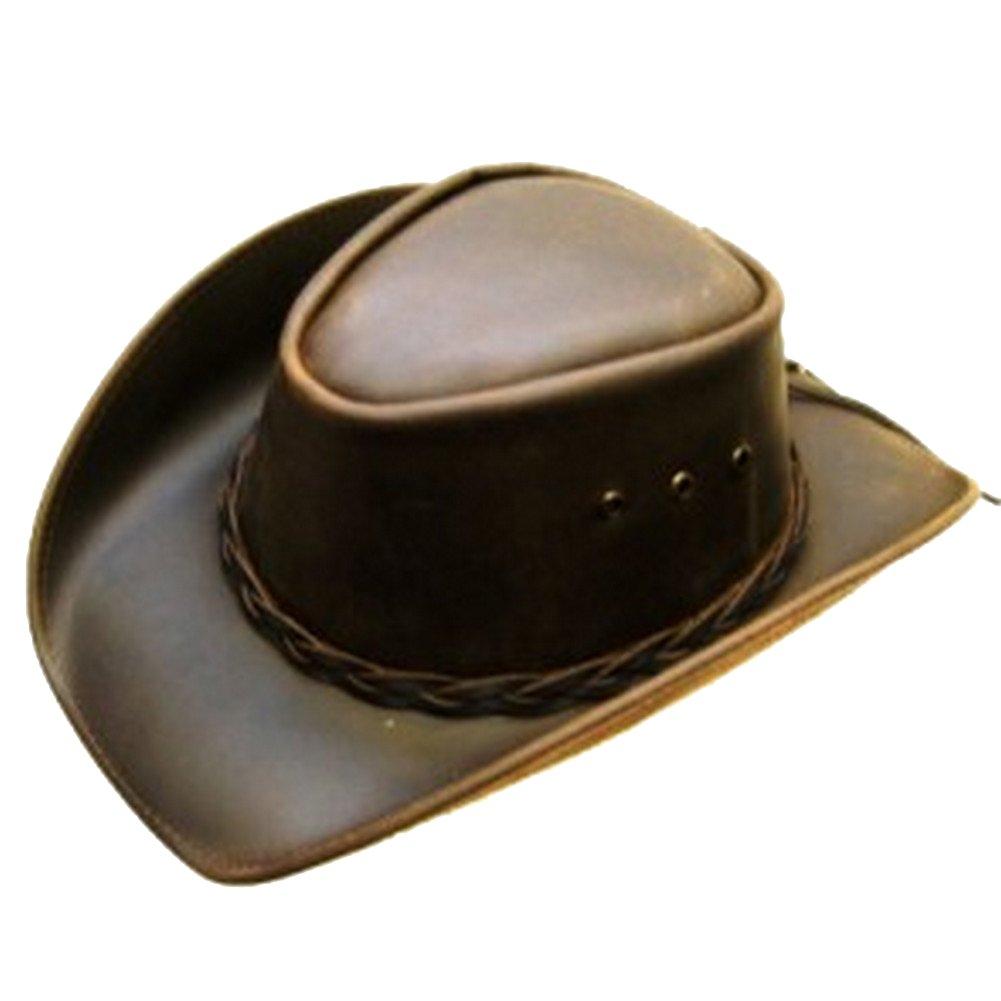 Modestone Unisex Leather Cowboy Hat Brown VA1089