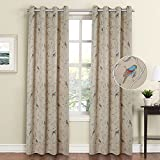 Flamingo P Blackout Grommet Curtains Living Room Noise Reducing Thermal Insulated Window Curtain Drapes Dining Room, Country Style Birds Taupe Pattern (2 Panels, 52 x 84 Each Panel