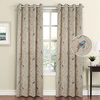 FlamingoP Printed Pair 2 Panels Soft Microfiber Room Darkening Thermal Insulated Heating Against Grommet Top Blackout Taupe Country Birds Pattern