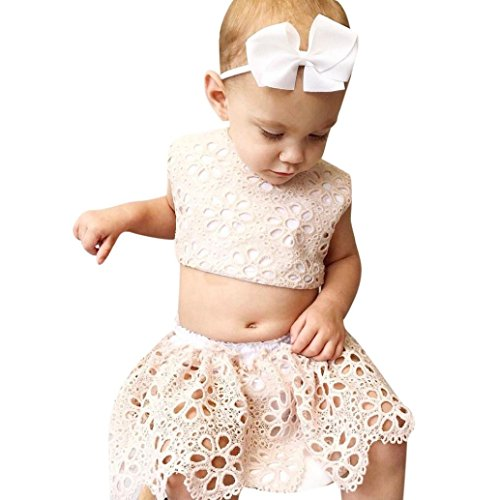 Price comparison product image Toddler Clothes,Kaifongfu Infant Baby Girls Lace Outfits Set Kid Top+Bottoms Brief Sunsuit Clothes (24M, Beige)