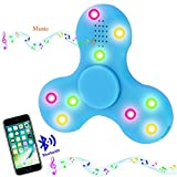 Bluetooth fidget spinner, musical spinner, blue triangle hand tri-spinner for adhd, add, anxiety, and autism adults & children's