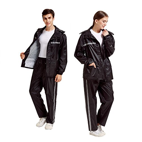Peacoco Motorcycle Rain Suit for Men & Women Waterproof Hooded Rainwear Jacket & Trouser Suit