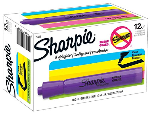 Sharpie 25019 Tank Style Highlighters, Chisel Tip, Lavender, Box of ()