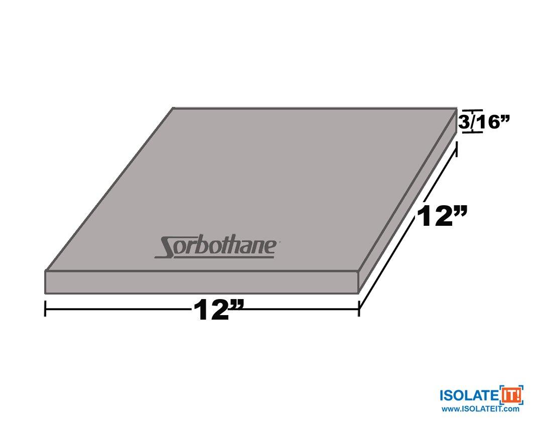 Sorbothane Vibration Damping Sheet Stock (50 Duro, 3/16x 12 x12in)