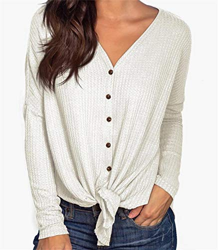 PCEAIIH Womens Long Sleeve Waffle Knit Tunic Blouse Tie Knot Henley Tops Loose Fitting Bat Wing Plain V Neck Shirts M-White ()
