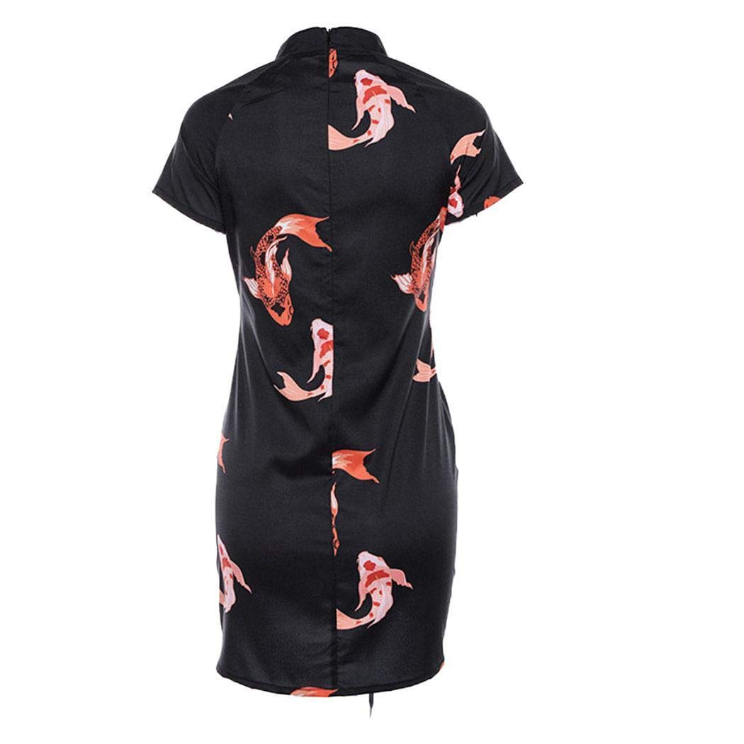 834b0bfc2ec4 Meharbour Women Fashion Print Cheongsam Dress with Drawstring Club Party  Mini Dress Dresses Black