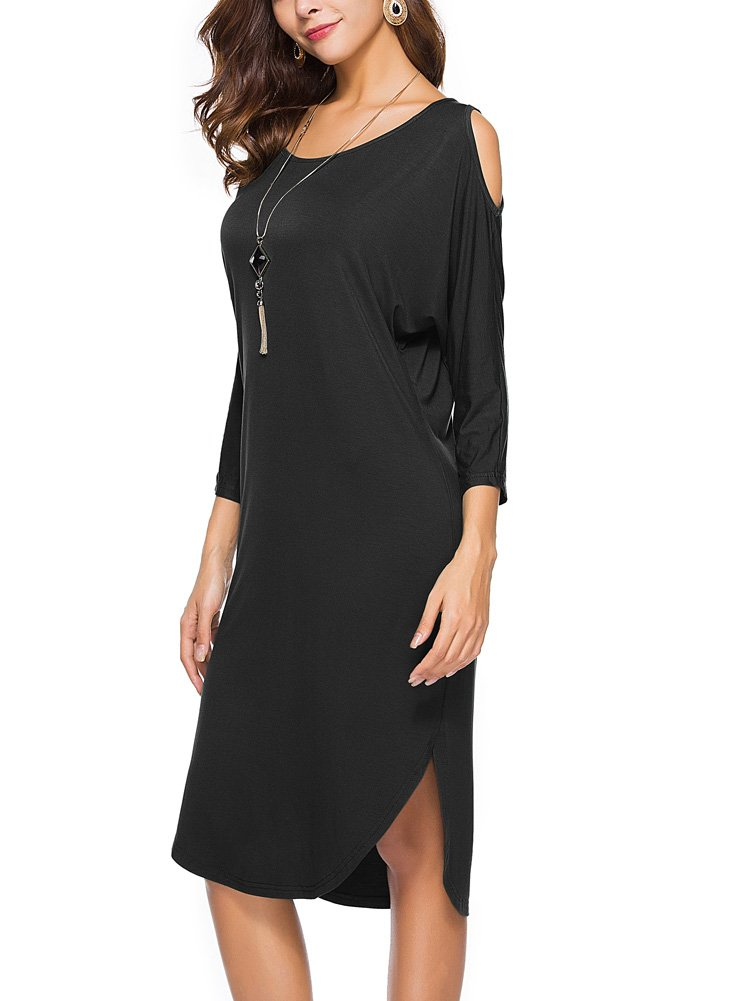 ReoRia Women's Casual 3/4 Sleeve Cold Shoulder Loose Shift Bodycon Midi Dress Black M
