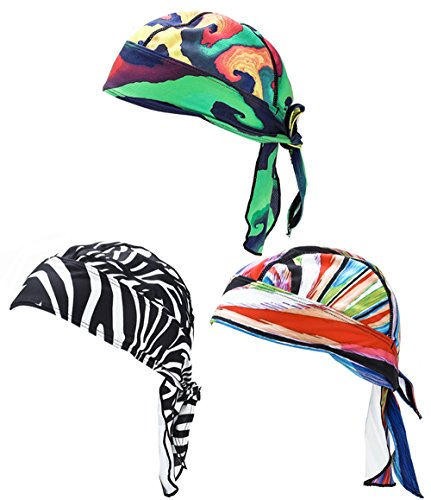Rag Pattern Doo Free - FREEMASTER Bicycle Running mask doo rag skull cap skull hat Pack of 3