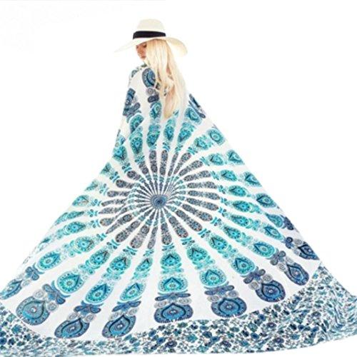 LOVELYIVA Indian Circel Round Fation Beach Cover Up Bikini Boho Summer Dress Swimwear Bathing Suit Kimono Tunic (Sky Blue 1)