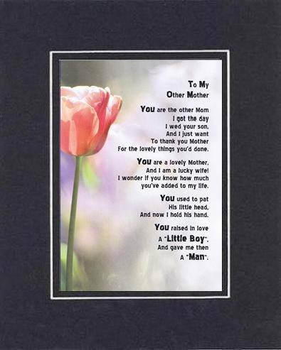 Touching and Heartfelt Poem for Mothers - to My Other Mom (from Daughter-in-Law) Poem on 11 x 14 inches Double Beveled Matting (Black on Black)