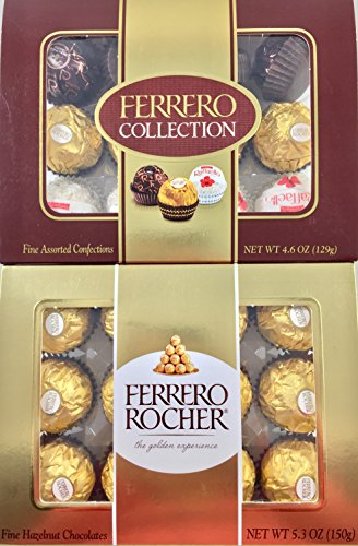 Ferrero Rocher Fine Hazelnut Milk Chocolates and Assorted Confections Including Dark Chocolate and White Chocolate with Almonds and Coconut ( 2 PACK) 24 Pieces Total.