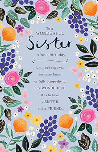 Tarjeta de cumpleaños para hermana, diseño floral: Amazon.es ...