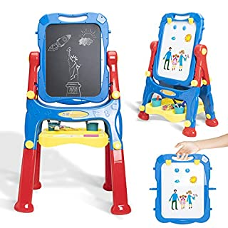 Toys for 3 4 5 Year Old Boys and Girls Kids Easel for Two Toddler Toys Dry Erase Board and Chalkboard Double Sides Height Adjustable Drawing Board with Extra Accessories