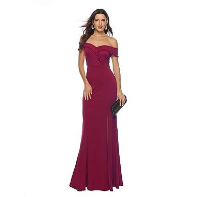 05adf2d2bd6b Women Elegant Off Shoulder Formal Bridesmaid Evening Dress Mermaid Slit  Party Maxi Dress-S Wine