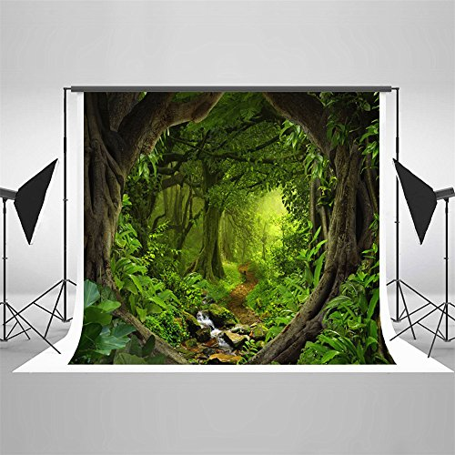 Photograpghy Background 5x7 Backdrop Jungle Flowing River Large Tree Studio Digital Printed Backdrops for (Jungle Trees Backdrop)