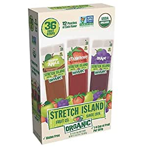 Stretch Island Organic Fruit Strips Variety Pack, 36 Count,0.5 OZ(14G) FRUIT STRIPS