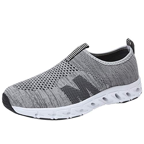 SOMESUN Men's Bow Running Shoes Fashion Breathable Mesh Tennis Shoes Elastic Freiziet Sport Walking Shoes Gray