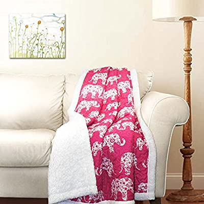 "Lush Decor Pink and White Elephant Parade Throw Fuzzy Reversible Sherpa Blanket 60"" x 50, 60 x 50 - Soft, 100% microfiber fabric reversible sherpa throw measures 60"" x 50"" and contains a cotton/poly blend filling. A perfect fuzzy elephant blanket for the living room, foot of the bed, nursery or as a gift. Decorative, white elephant design set against a gray background for a beautiful, functional throw. - blankets-throws, bedroom-sheets-comforters, bedroom - 51hFshD5EaL. SS400  -"