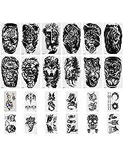 SAVITA 12 Ark 3D Realistisk Stor Tatuering Klistermärken Avtagbara Tillfällig Animalisk Tiger Lejon Varg + 12 Ark Katt Uggla Tillfällig Tatuering Klistermärken Avtagbara för Män och Kvinnor
