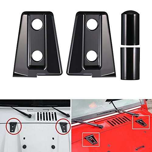 AVOMAR 2Pcs ABS Engine Hood Hinge Cover for 2007-2017 Jeep Wrangler (Black)