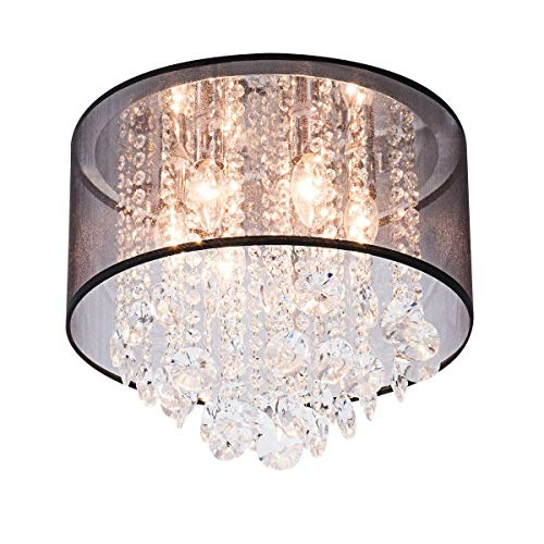 Simon Fashion Modern Drum Cylinder Shape Fabric Shade Chandelier, Crystal Flush Mount Ceiling Light with 6 Lights for Dining Room Bedroom Livingroom Foyer D15.7