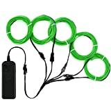 Zitrades EL Wire Green Neon Lights Kit 4 Modes Portable Battery Operated DIY Party Decoration, 5 1-Meter