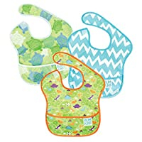 Bumkins Waterproof SuperBib 3 Pack, Boy (B09-Turtle/Dino/Blue Chevron) (6-24 ...