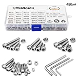 304 Stainless Steel Screws and Nuts, M3 M4 M5 Hex Socket Head Cap Screws Assortment Set Kit with Storage Box (480 Packs)