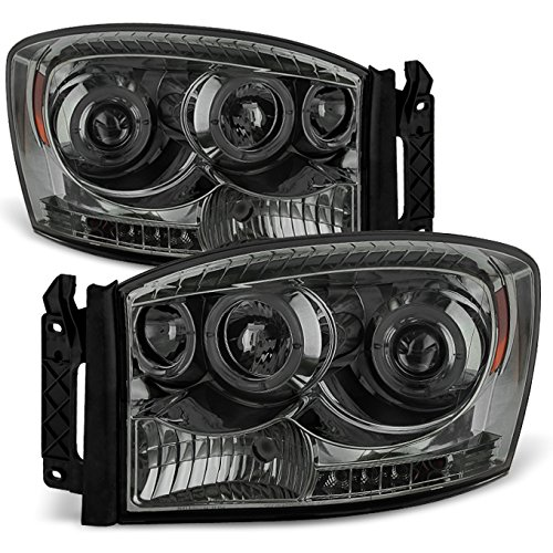 For Dodge Ram Pickup Truck Smoked Smoke Dual Halo Ring LED Projector Headlights Left + Right Replacement