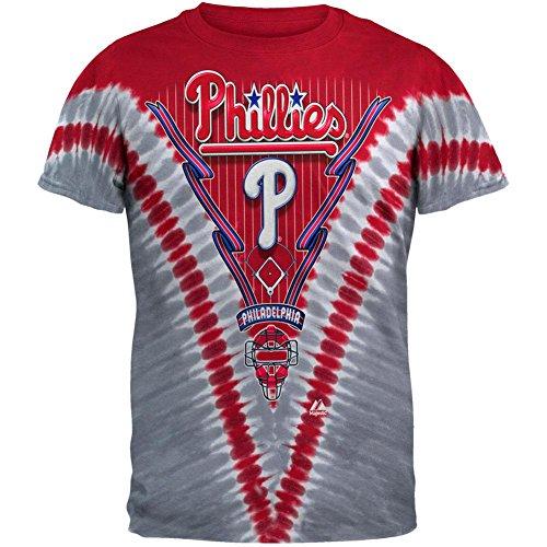 Liquid Blue Men's Phillies V T-Shirt, Tie Dye, -