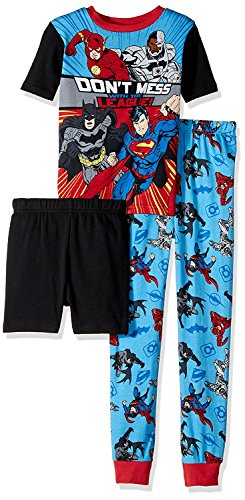 Justice League Big Boys' 3-Piece Cotton Pajama Set, Knights-Of-Night Black, 6