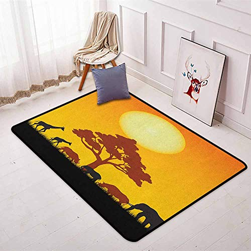 - Safari Non-Slip Absorbent Carpet Silhouette of Rhinos Elephants Zebras Grassland and A Tree with The Sun Better underfoot Protection W47.2 x L71 Inch Orange Chocolate Black